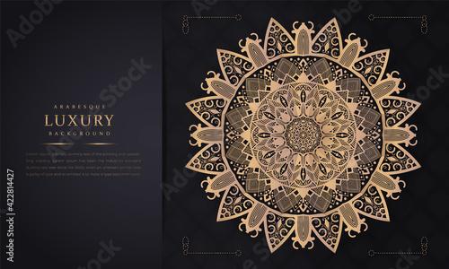 Fototapeta Luxury gold ornamental mandala background. Mandala with floral patterns. Vector illustration, Flower Mandala. Oriental, mystic, alchemy pattern. Vector illustration hand drawn doodle mandala.  obraz