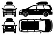 Minivan silhouette on white background. Vehicle icons set view from side, front, back, and top