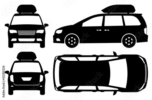 Obraz na plátně Minivan silhouette on white background
