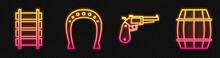 Set Line Revolver Gun, Railway, Railroad Track, Horseshoe And Wooden Barrel. Glowing Neon Icon. Vector
