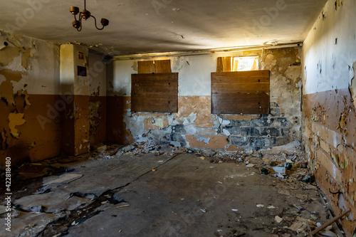 Urban exploration of old buildings ruins of old quartz mine Stanislaw Fototapeta