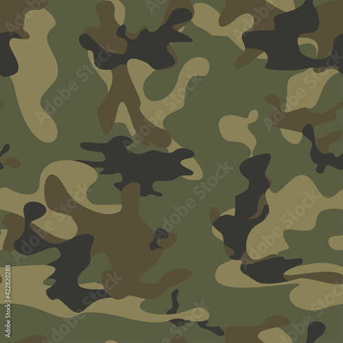 Papel de parede Camouflage vector seamless army pattern for textiles.