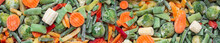 Banner. Background Of A Mix Of Frozen Vegetables. Carrots, Brussels Sprouts, String Beans, Peppers, Corn. Health Care, Vegetarian Concept, Fast And Healthy