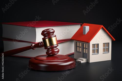 Obraz na plátně housing legislation concept - law books, house and gavel, 3d rendering