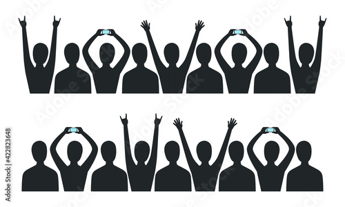 Fotografie, Obraz Crowd of People Black Silhouette Holding Smartphone and Pushing Their Hands Up V