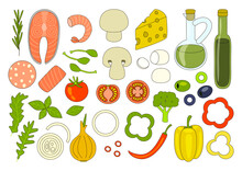 Ingredients For Cooking And Pizza Toppings - Cherry Tomatoes, Pepperoni Sausage, Cheese, Olives, Oil, Capers, Red Fish, Shrimp, Broccoli, Champignon, Onion, Basil, Arugula, Rosemary, Pepper - Food Set