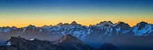 "Snowy Greater Caucasus Ridge Before Summer Sunrise. View From ""Bochki"" Refuge At Elbrus Ski Slope, Kabardino-Balkaria, Russia."
