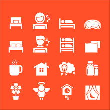 Icon Set Of Bedroom Sleeping Vector Icons Collection Of Symbol, Logo, Pictogram Linear Flat Simple Ui Stroke Sign Hand Drawn Lined Graphic Design