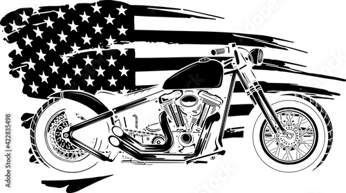 Vászonkép black silhouette of chopper motorcycle with american flag vector illustration
