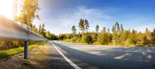 Asphalt Road Panorama In Countryside In Summer.