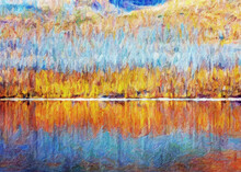 Impressionnisme. Reflet De Couleurs à L'automne Sur Les Rives Du Lac McDonald Dans Le Parc National De Glacier. Montana. États-Unis