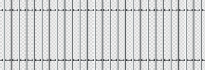 Realistic prison metal bars isolated on transparent background. Iron jail cage. Prison fence jail. Template design for criminal or sentence. Vector illustration