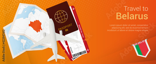 Fototapeta Travel to Belarus pop-under banner. Trip banner with passport, tickets, airplane, boarding pass, map and flag of Belarus. obraz