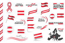 Big Vector Set Of Austrian Ribbons, Symbols, Icons And Flags Isolated On A White Background. Made In Austria, Premium Quality, Austrian National Colors. Set For Your Infographics And Templates