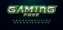 Modern Futuristic Font For Video Game Logo And Headline. Bold Letters With Sharp Angles And Green Outline. Tilted Sharp Font On Black Background. Vector Typography Design With Metal Texture