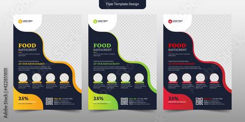 Fototapeta Creative Food & Restaurant Flyer Brochure Template Design obraz