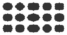 Black Retro Labels Set. Different Ornamental Border. Decorative Vintage Royal Flat Frame. Elegant Blank Shape, Tag Stickers, Template For Certificate, Menu, Text Badge, Patch, Craft Scrapbook Banner