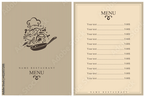 Obraz na plátne restaurant menu design with cooking process of vegetables on pan