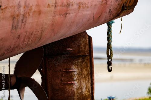 Stampa su Tela bateau hélice peinture rouille poupe