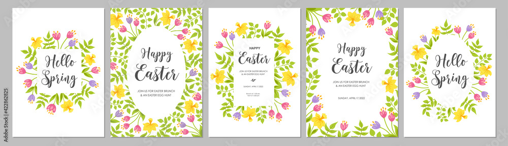 Fototapeta Happy Easter cards set with flowers tulips, narcissus and leaves. Floral spring frames, borders with place for text. Vector illustration.