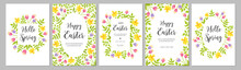 Happy Easter Cards Set With Flowers Tulips, Narcissus And Leaves. Floral Spring Frames, Borders With Place For Text. Vector Illustration.