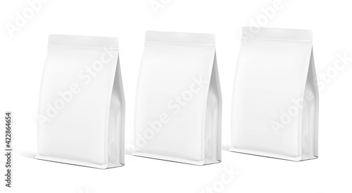 Realistic food bag set isolated on white background. Front view. Vector illustration. Can be use for template your design, presentation, promo, ad. EPS 10.