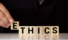 ETHICS Word On Wooden Cubes, Business Concept
