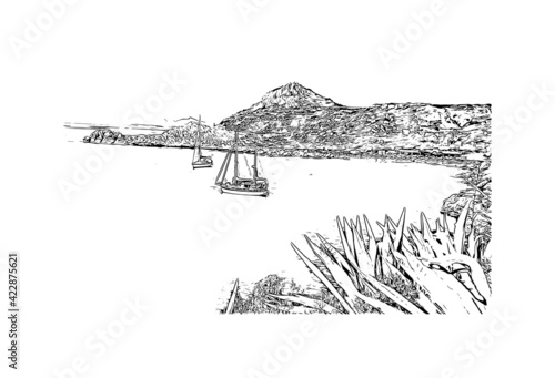 Fototapeta Building view with landmark of Rhodes is the  island in Greece. Hand drawn sketch illustration in vector. obraz