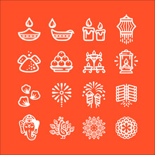 Icon Set Of Diwali Vector Icons Collection Of Symbol, Logo, Pictogram Linear Flat Simple Ui Stroke Sign Hand Drawn Lined Graphic Design