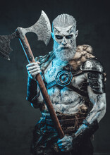 Risen From The Dead Warrior With Two Handed Axe In Moonlight