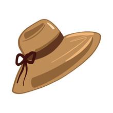 Women's Hat, Sun Shield, Beach Accessory, Headdress Vector Illustration Cartoon Style. Isolated On White Background.