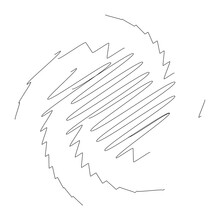 Spiral, Swirl, Twirl Design Element With Sketchy, Scribble Pattern