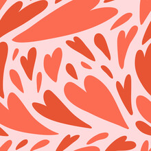 Vector Hand Drawn Seamless Pattern Cute Design. Red Hearts Valentine Day Concept.
