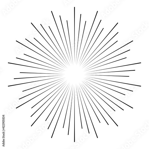 Fototapeta Radial, radiating line starburst, fireworks effects vector