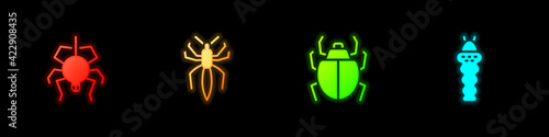 Set Spider, , Mite and Larva insect icon. Vector Fototapet