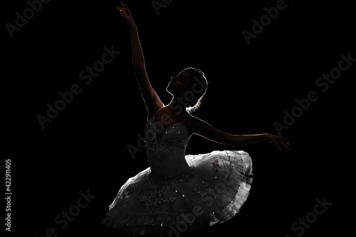 Billede på lærred Silhouette of beautiful young ballerina on dark background