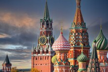 St. Basil's Cathedral And Spassky Tower On Red Square In Moscow. Orthodox Church And Architectural Masterpieces Of Moscow. Most Famous Sights Of Russia. Life Before Pandemic COVID-19