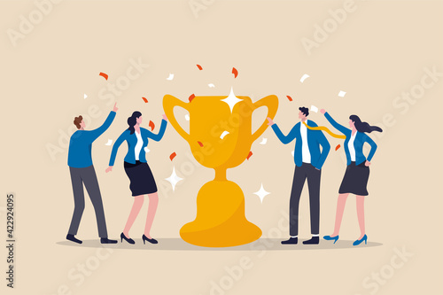 Team success recognition, reward for teamwork to achieve business goal, victory for coworkers to complete work mission concept, happiness success businessmen and women team holding winning trophy cup.