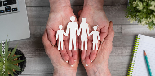 Fotografie, Obraz Concept of family insurance