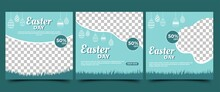Easter Social Media Post Template. Modern Banner Design With Egg Illustration And Place For The Photo. Suitable For Social Media, Flyers, Cards. And Website.