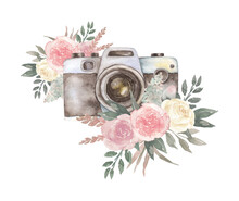 Watercolor Vintage Retro Camera With Boho Flowers Roses.