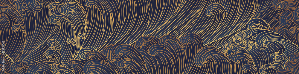 Fototapeta Line art design of waves, montain, modern hand-drawn vector background, gold ink pattern. Minimalist Asian style.