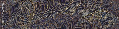 Fototapeta Line art design of waves, montain, modern hand-drawn vector background, gold ink pattern. Minimalist Asian style. obraz