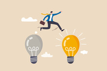 Business Transformation, Change Management Or Transition To Better Innovative Company, Improvement And Adaptation To New Normal Concept, Smart Businessman Jump From Old To New Shiny Lightbulb Idea.