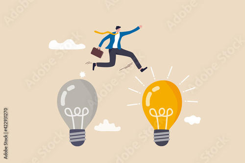Leinwand Poster Business transformation, change management or transition to better innovative company, improvement and adaptation to new normal concept, smart businessman jump from old to new shiny lightbulb idea