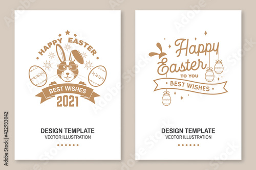 Fototapeta Happy Easter card, badge, logo, sign. Vector. Typography design with easter rabbit and hand eggs. Modern minimal style. For poster, greeting card, overlay, sticker. Easter Egg Hunt obraz
