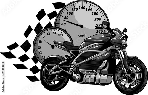 Tela design of Motorcycle racer sport vector illustration
