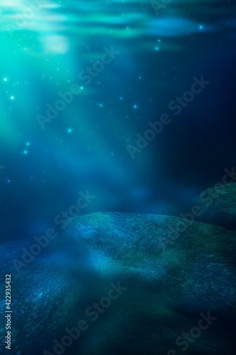 Fototapety, obrazy: Depth of sea water, the bottom of the sea, the rays of the sun through the water, the underwater world, dark sea the background. Rocks and stones under water. Sea sand. 3d illustration