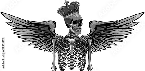 Valokuvatapetti vector design of angel skeleton with wing and crown