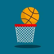 Basketball Sports Equipment Sets, Basketball And Basket Nets, Flat Design Kratip